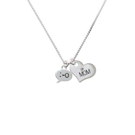 Silvertone Emoticon :-O - Surprise - Mom Heart Necklace - Heart Emojicon