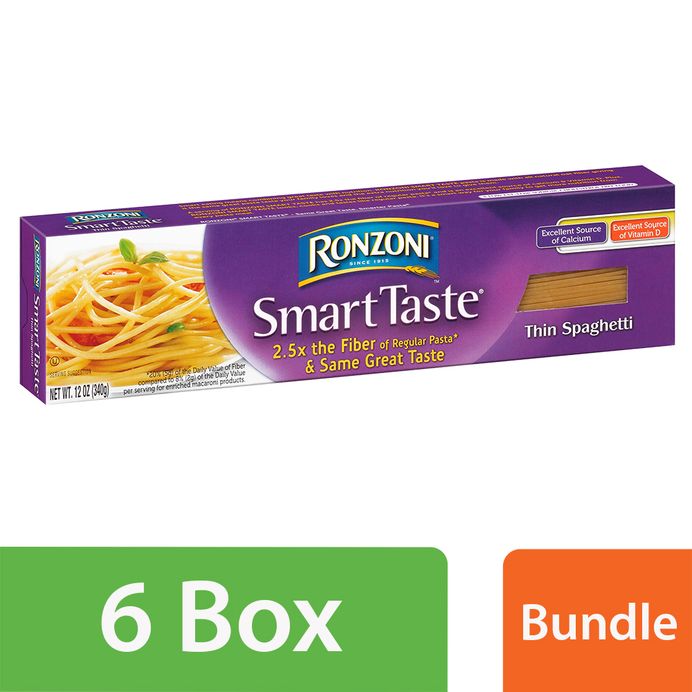 (6 Pack) Ronzoni Smart Taste Thin Spaghetti Pasta 12 oz. Box