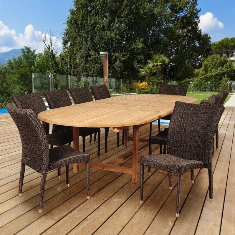 International Home Amazonia Teak 11 Piece Extendable Patio Dining Room Set by International Home Miami