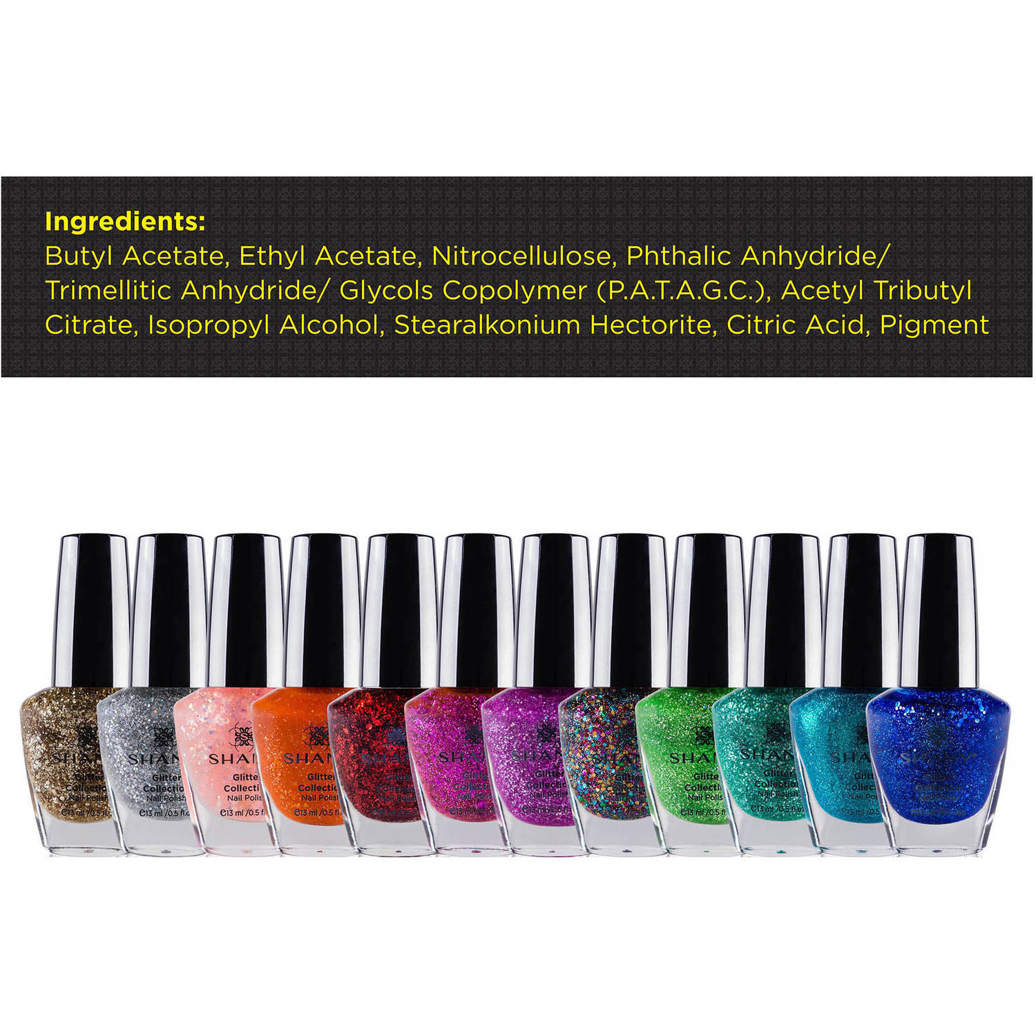 SHANY Glitter Collection Nail Polish Set, 12 count - Walmart.com