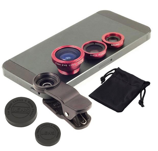 3 in1 Fish Eye Wide Angle Macro Camera Clip-on Lens for Universal Cell Phone, Smartphones, Iphone, Samsung Red