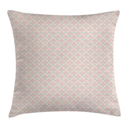 Shabby Chic Throw Pillow Cushion Cover, Big Little Triangles Squares Retro Geometric Checked Pattern, Decorative Square Accent Pillow Case, 16 X 16 Inches, Light Pink Peach Light Blue, by - Retro Squares Pattern