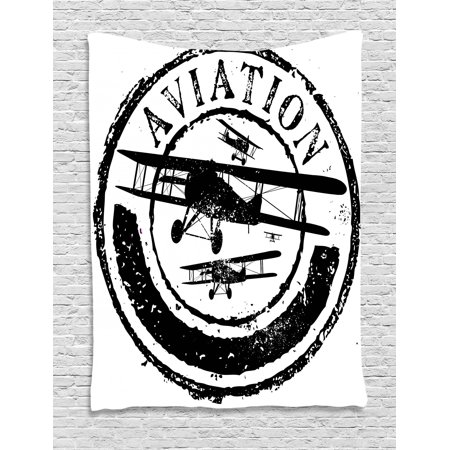 Vintage Airplane Tapestry, Grunge Style Stamp Design with Word Aviation and Airplane Silhouettes, Wall Hanging for Bedroom Living Room Dorm Decor, Black and White, by Ambesonne