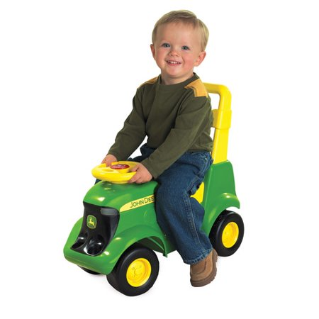 John Deere Sit N Scoot Tractor, 3-in-1 Ride on Tractor with Farm Animal Toys &