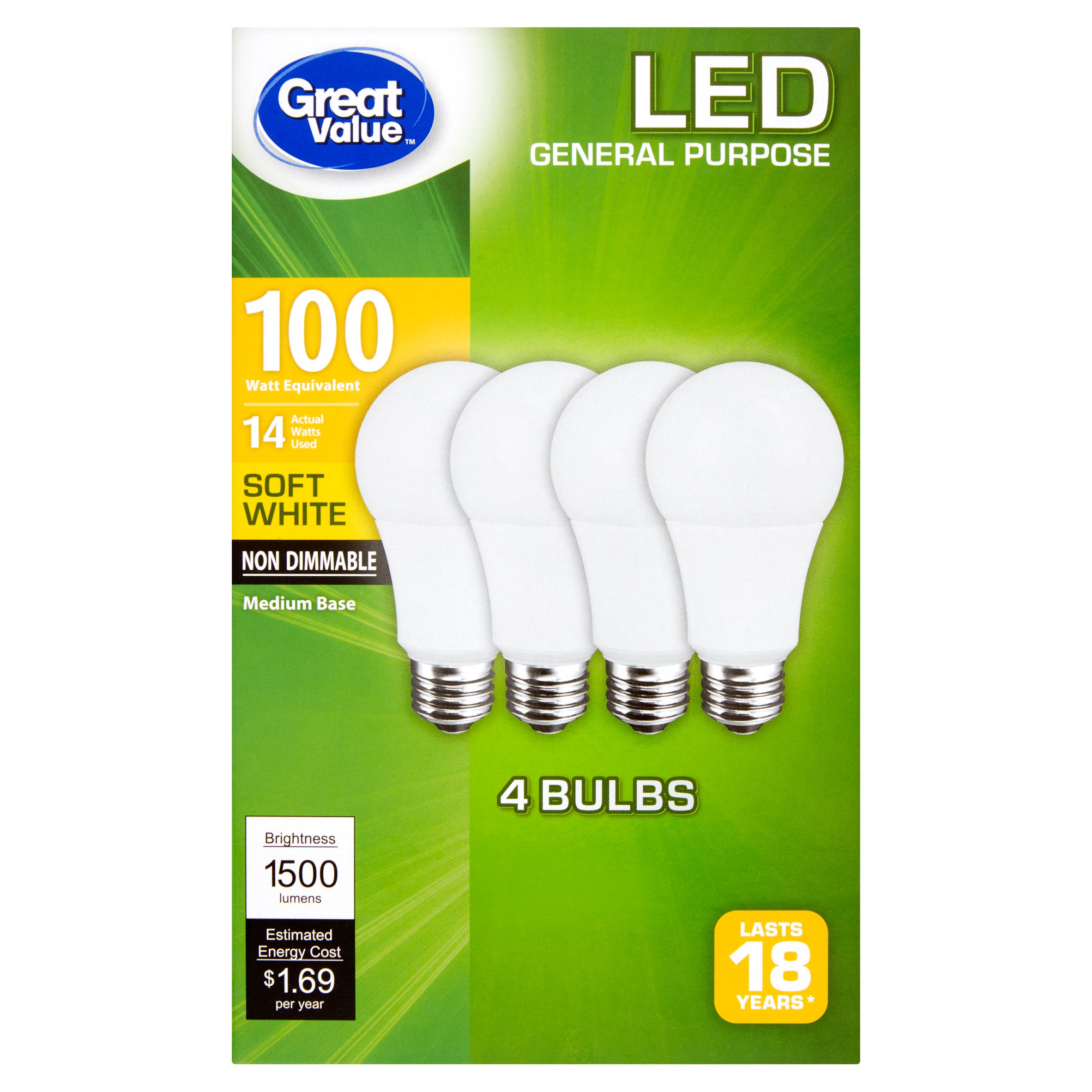Great Value LED Soft White Medium Base General Purpose Bulbs, 4 count