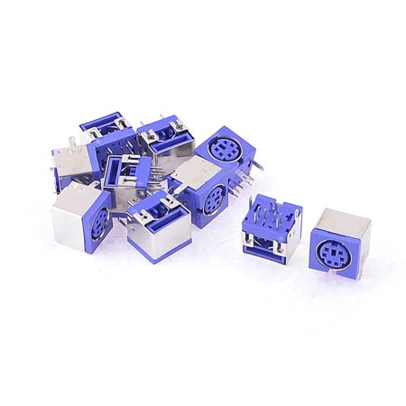 Unique Bargains 10 x PS/2 6p DIN Plug Female PCB Mouse Keyboard Connector Blue - image 1 de 1