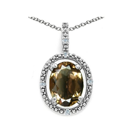(Tommaso Design Oval 9x7mm Genuine Smoky Quartz Pendant Necklace)