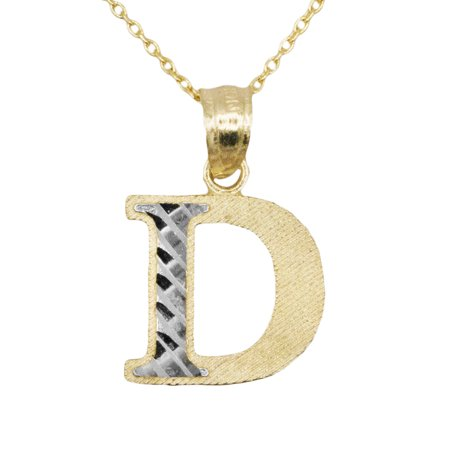 10k Yellow Gold Two Tone Letter D Initial with Diamond Cut Finish Pendant Necklace (No Chain) Diamond Cut Initial Letter