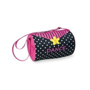 Girls Black Yellow Pink Daisy Dots Microfiber Lined Duffel Bag