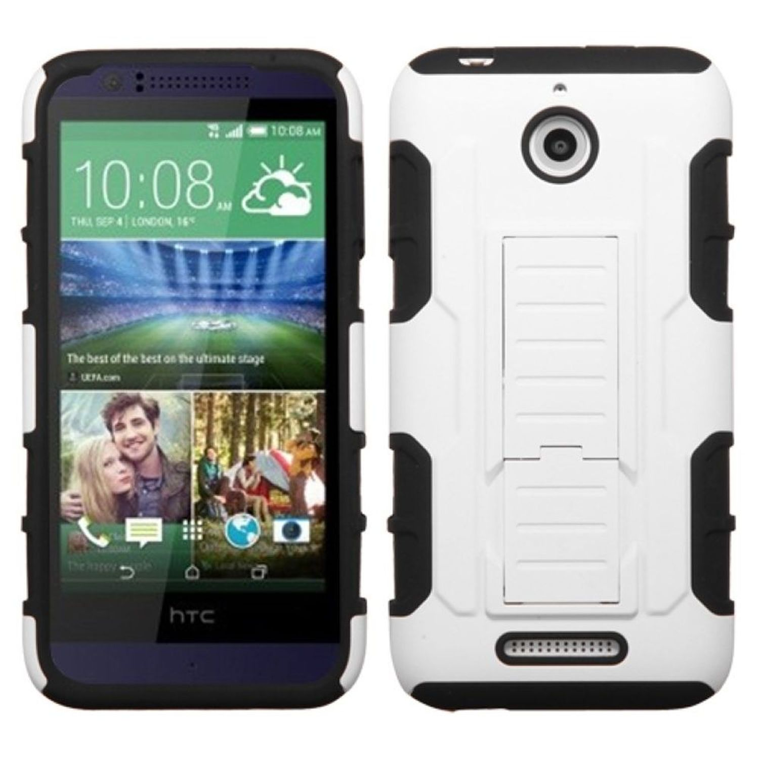 Insten Hard Hybrid Rugged Shockproof Case with Stand For HTC Desire 510 - White/Black