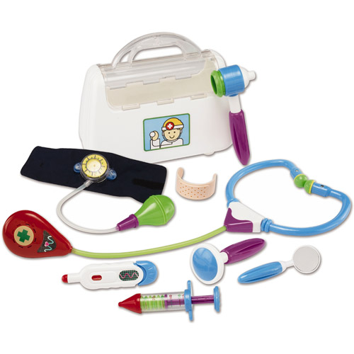 Kidoozie Little Doctor Kit - Includes Stethoscope, Blood Pressure Gauge, Reflex Hammer, Thermometer, Squeaking Syringe, Auriscope, Laryngoscope, Pretend Bandage, and Bag - Ages 12 Months And Up