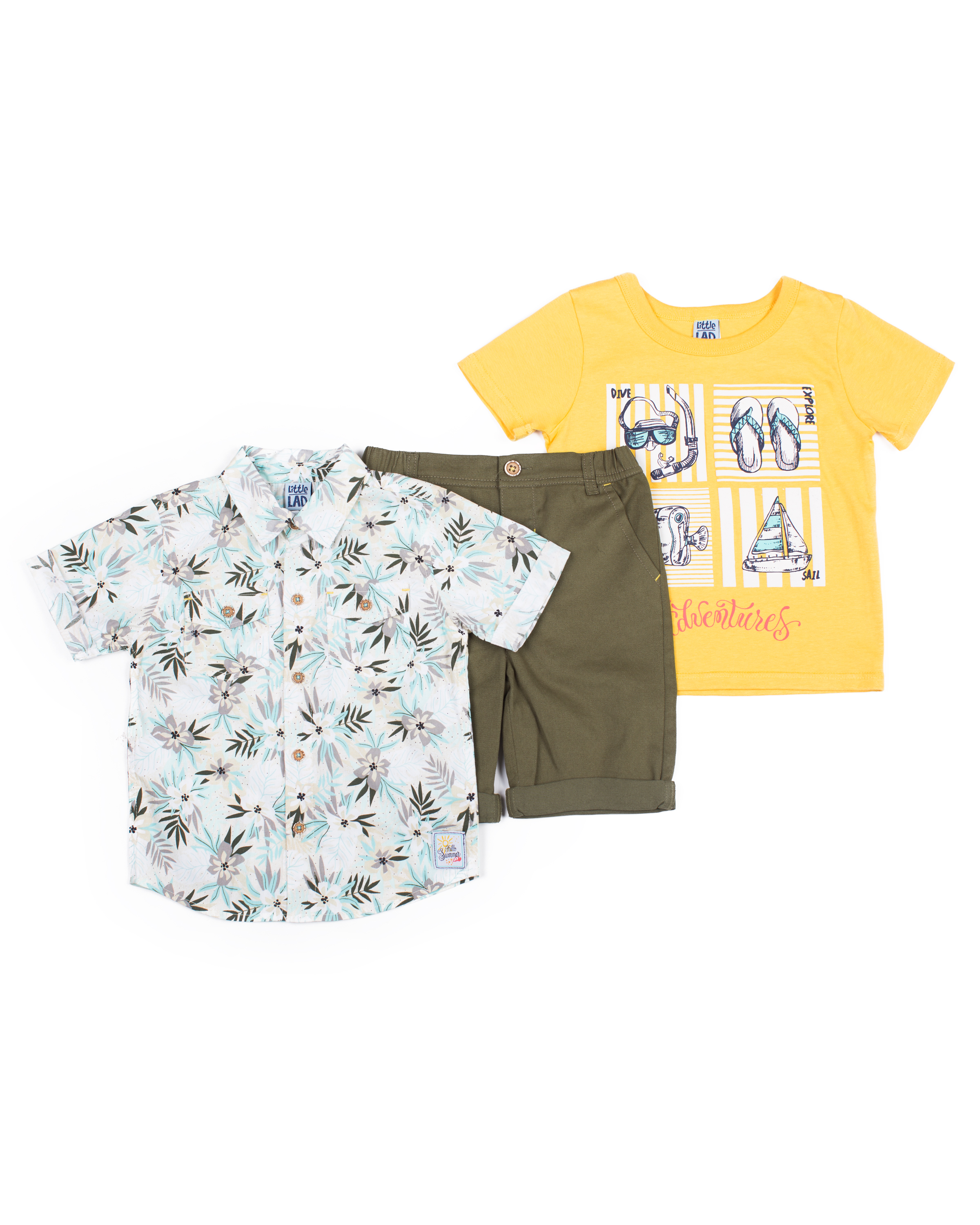 Little Lad Short Sleeve Printed Poplin Button Up Shirt, Short Sleeve  Graphic T-shirt & Drawstring Twill Short, 3pc Outfit Set (Baby Boys &  Toddler