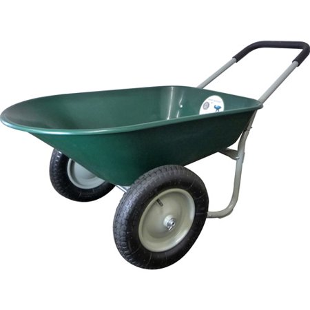 Marathon 70015 5 Cubic Feet Green Poly Wheelbarrow - Decorative Wheelbarrow