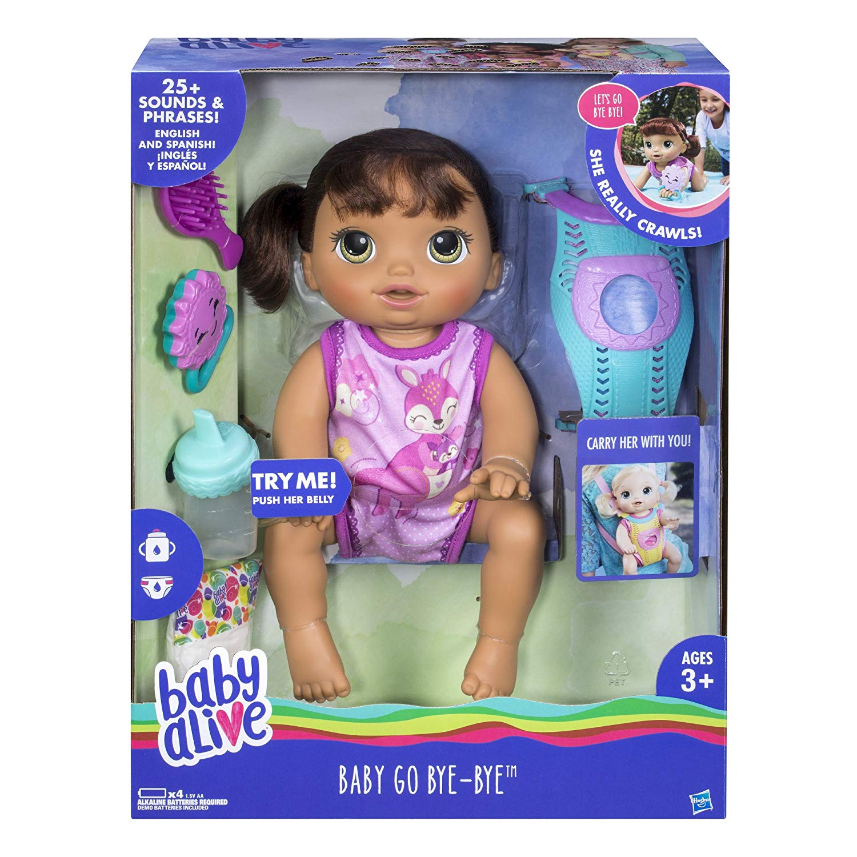 Baby Alive - Baby Go Bye-Bye Brunette Baby Doll, crawls and talks New!