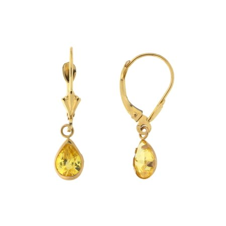 14k Yellow Gold Simulated Citrine Pear Cut Leverback Dangle Earrings