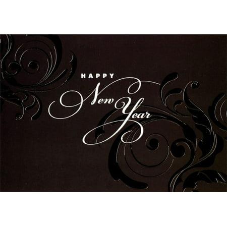 Designer Greetings New Year Swirls Box of 18 New Year Cards
