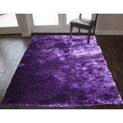 8x10 Feet Purple Color Solid Plush Shag Shaggy Fuzzy Furry Decorative Designer Area Rug Carpet Rug for Bedroom Living Room