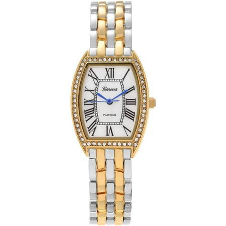 Brinley Co. Women's Rhinestone Rectangle Link Bracelet Fashion Watch