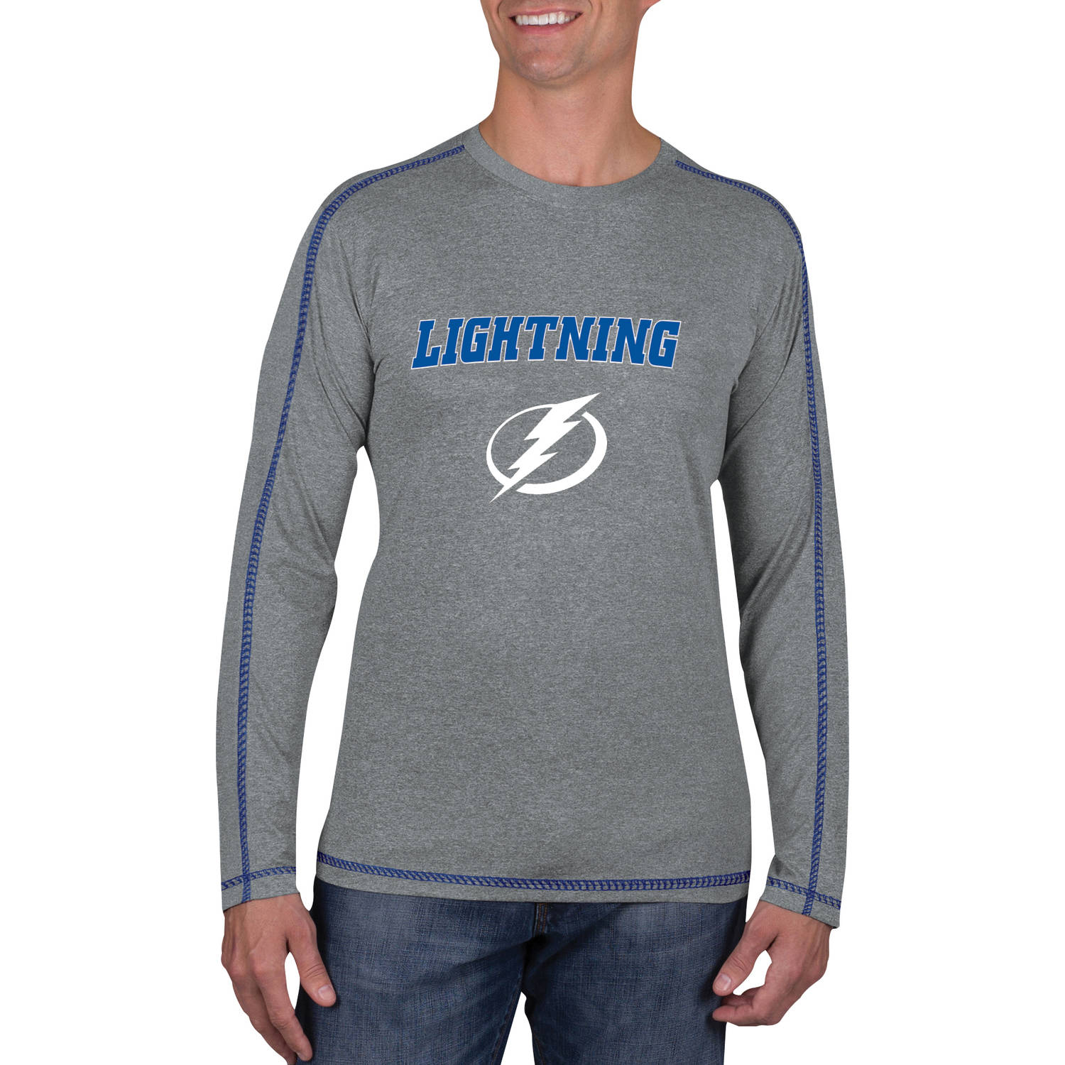 NHL Tampa Bay Lightning Men's Athletic-Fit Long Sleeve Impact Tee Shirt