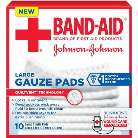 JOHNSON & JOHNSON Red Cross First Aid Gauze Pads 4 Inches X 4 Inches 10 (Johnson & Johnson Non Stick)