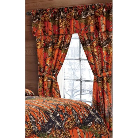 The Woods Orange Camouflage 5pc Curtain Set by Regal Comfort For Hunters Cabin or Rustic Lodge Teens Boys and Girls (Curtain , Orange)