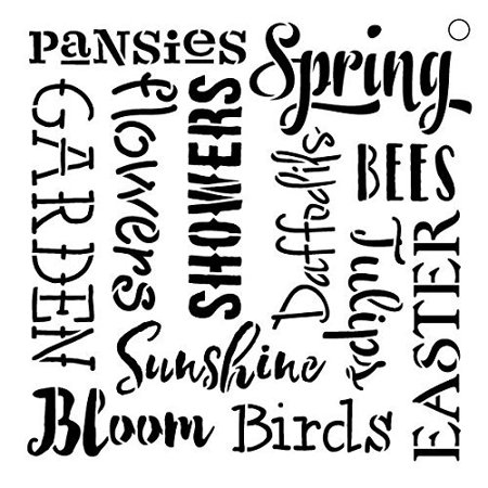 Spring Words Stencil by StudioR12 | Festive Spring Inspiration Word Art - Medium 9 x 9-inch Reusable Mylar Template | Painting, Chalk, Mixed Media | Use for Crafting, DIY Home Decor - STCL1047_2