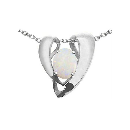 Tommaso Design Oval 9x7mm Genuine Opal Heart Shaped Pendant Necklace Enhancer