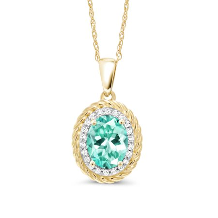 1.34 Ct Oval Blue Apatite White Diamond 14K Yellow Gold Pendant