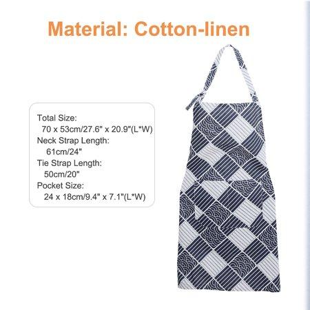 Adjustable Bib Apron Printed Oil Resistant Cotton linen with 2 Pockets for Women Men, Navy Blue Plaid thumbnail