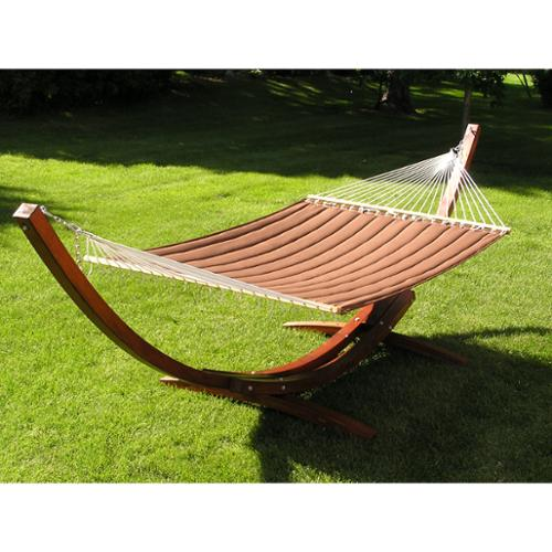 Styled Shopping Inc Deluxe Wood Arc Hammock Stand and Quilted Hammock - Brown