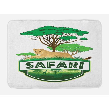 Safari Bath Mat, African Savannah with Lion and Green Trees Wilderness Exotic Nature, Non-Slip Plush Mat Bathroom Kitchen Laundry Room Decor, 29.5 X 17.5 Inches, Sand Brown Hunter Green, Ambesonne