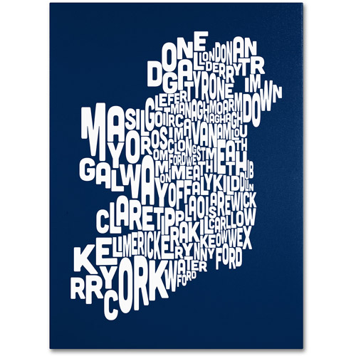 Trademark Art 'NAVY-Ireland Text Map' Canvas Art by Michael Tompsett