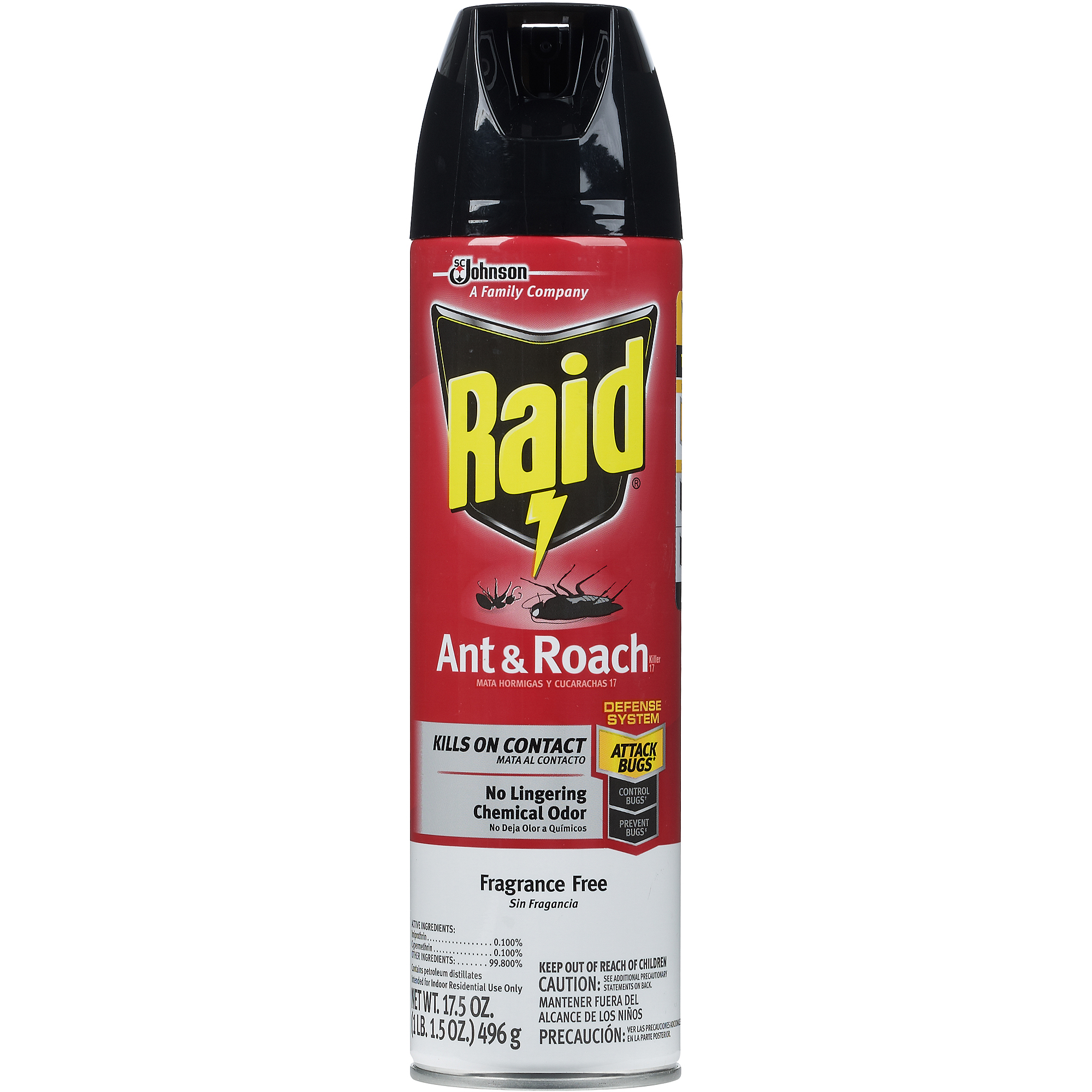Raid Ant & Roach Killer, Fragrance Free, 17.5 OZ
