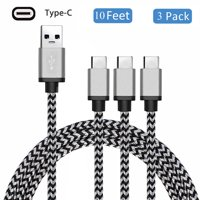 USB Type C Charging Cable (3-Pack 10ft), USB 3.1 C Nylon Braided Charger Cord for Samsung Galaxy Note 9 8 S10 S10E S10 Plus S9 S8 Plus, LG G7 G6 V40 V30, Nexus 5, Google Pixel 3/3 XL, Oneplus 6T/6