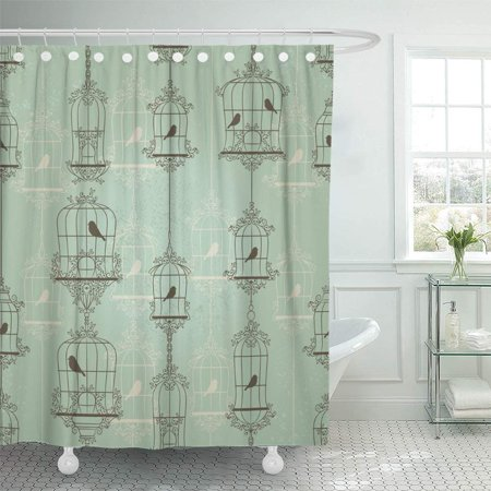 PKNMT Black Cage Vintage Birds and Birdcages Pattern Green Antique Wall Caged Closed Cute Bathroom Shower Curtain 66x72 inch (Vintage Bird Cage Shower Curtain)
