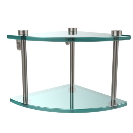Two Tier Corner Glass Shelf (Build to Order) ()