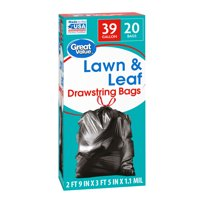 Great Value Large Lawn & Leaf Trash Bags, 39 Gallon, 20 Bags (Drawstring)