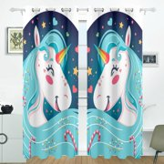 POPCreation Bright Happy Unicorn Background Window Curtain Blackout Curtains Darkening Thermal Blind Curtain for Bedroom Living Room,2 Panel (52Wx84L Inches)