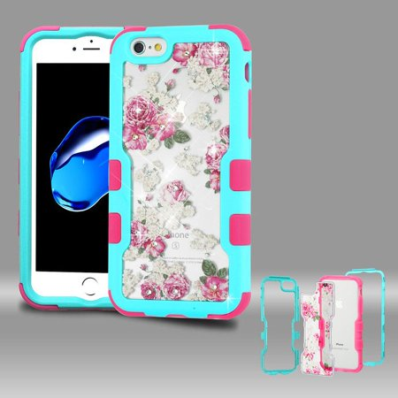 Insten Tuff Vivid Roses Dual Layer Hybrid Rhinestone Diamond Bling PC/TPU Rubber Case Cover For Apple iPhone 7/8 - Multi-Color + Privacy Tempered Glass Screen Protector - image 1 de 3