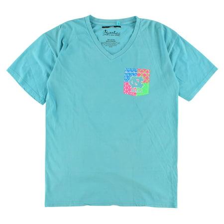 Press Box Womens North Carolina Tar Heels Patchwork V Neck T Shirt Blue