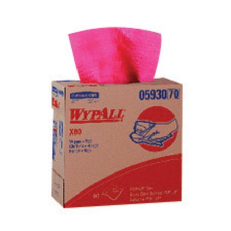 Kimberly-Clark Professional* WYPALL* X80 9.100'' X 16.800'' Red HYDROKNIT* Wiper (80 Per Pop-Up Box, 5 Box Per Case)
