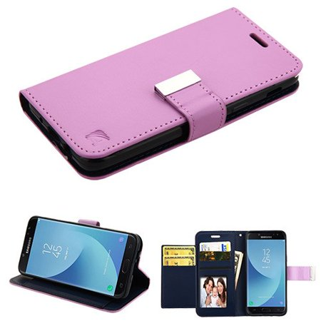 Phone Case for Samsung Galaxy J7 (2018), J737, J7 V 2nd Gen, J7 Refine Case Leather Flip Credit Card / Cash Wallet Cover Stand Pouch Folio Magnet with extra Slots Case Cover - Purple