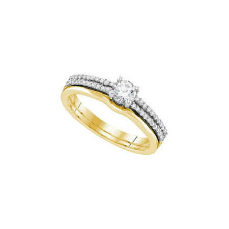 14kt Yellow Gold Womens Round Diamond Slender Double Row Bridal Wedding Engagement Ring Band Set 1/2 Cttw