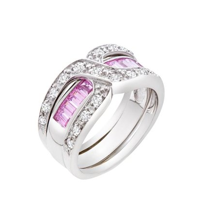 Chic Jewels RG2009-7 Pink Princess-Cut Cubic Zirconia Crossover Ring in Sterling Silver - Size 7 - image 1 de 1