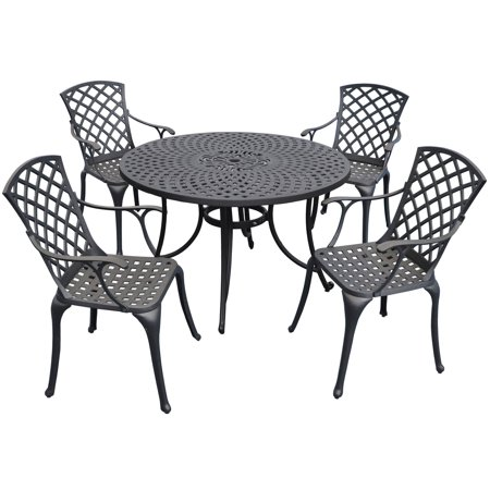 - Crosley Sedona 48 in. 5 Piece Cast Aluminum Outdoor Dining Set with High Back Arm Chairs
