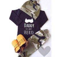 Newborn Baby Boys Batman Romper Bodysuit Jumpsuit Pants Hat Outfits Set Clothes