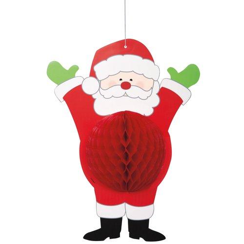 Hanging Honeycomb Santa Claus Christmas Decoration, 14in