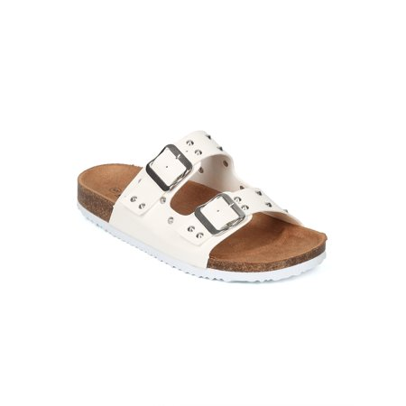 New Women Leatherette Studded Double Buckle Footbed Sandal - 17904 By AMS