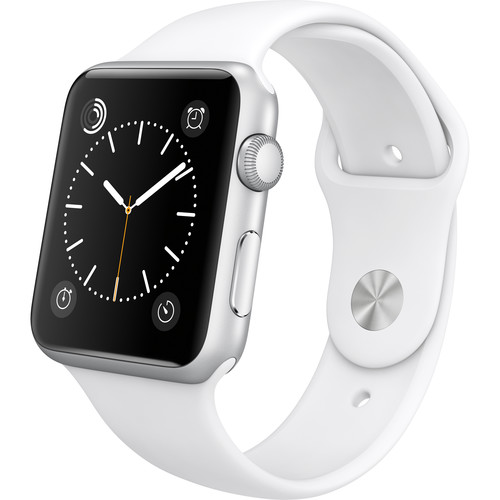 Apple Watchâ ¢ Sport 42mm Silver Aluminum Case - White Sports Band