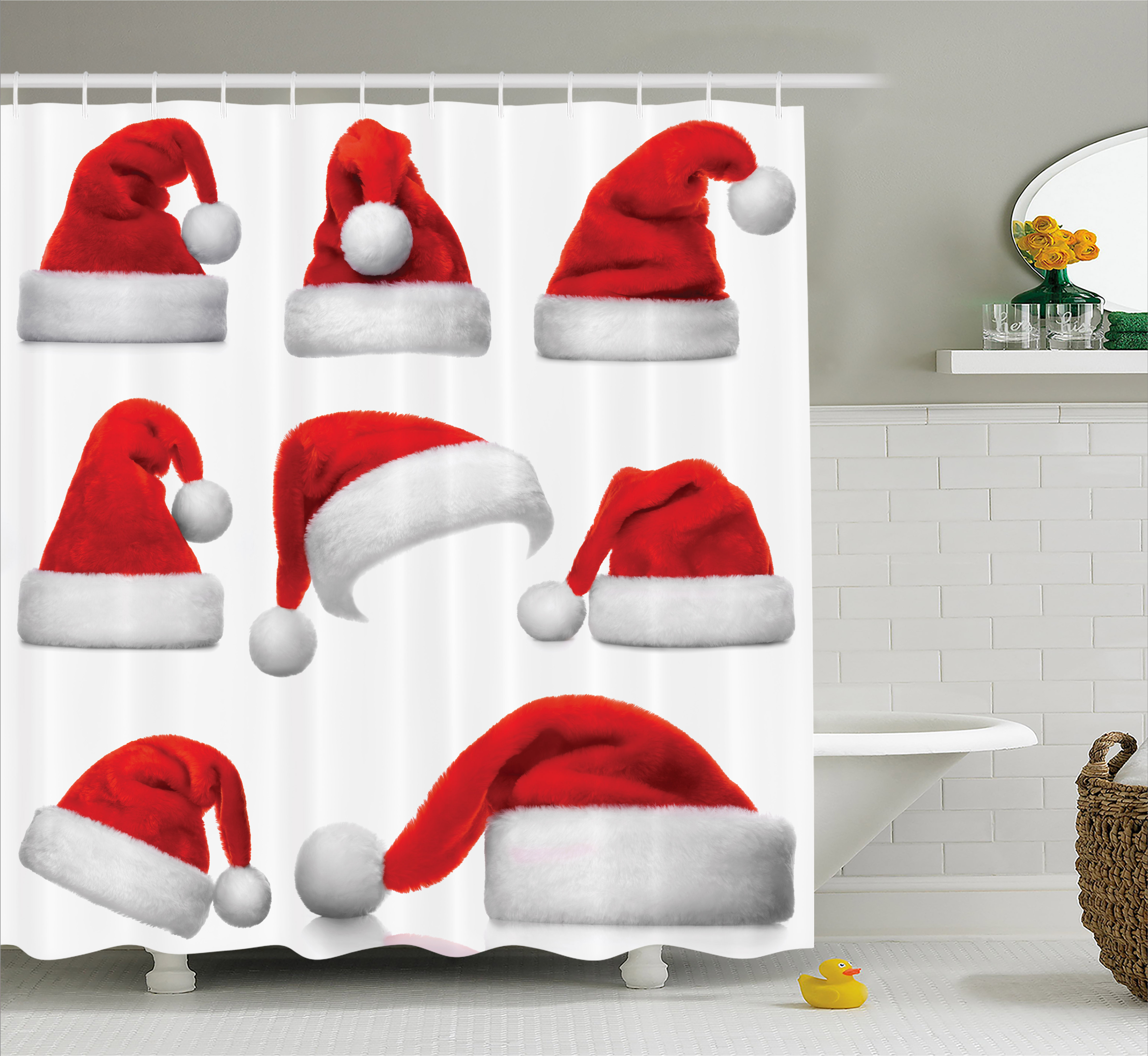 Christmas Shower Curtain, Classical Santa Claus Hats Xmas New Year Celebration Tradition Party Theme, Fabric Bathroom Set with Hooks, Red and White, by Ambesonne